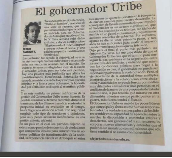 Sergio Fajardo sobre Álvaro Uribe Vélez