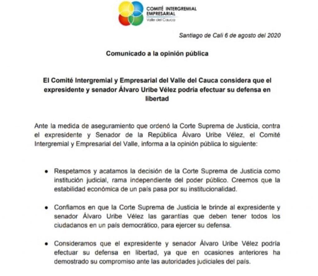 34 APOYOS GREMIOS - COMITÉ EMPRESARIAL INTERGREMIAL VALLE DEL CAUCA