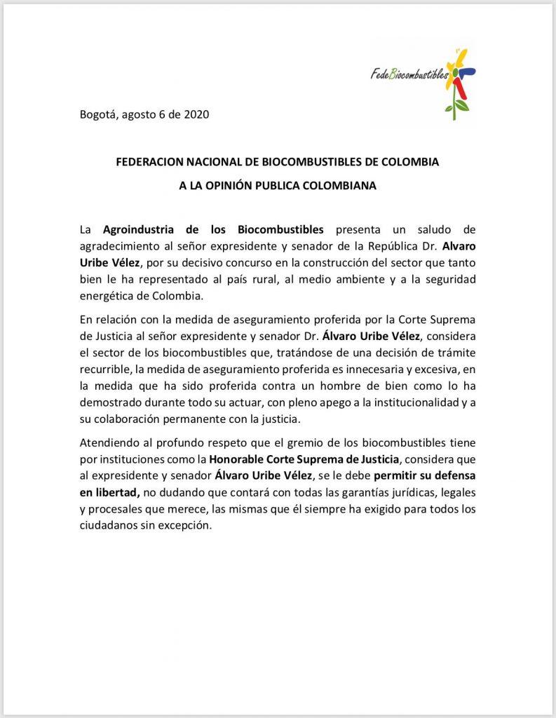 37 APOYOS GREMIOS - FEDERACIÓN NACIONAL DE BIOCOMBUSTIBLES DE COLOMBIA