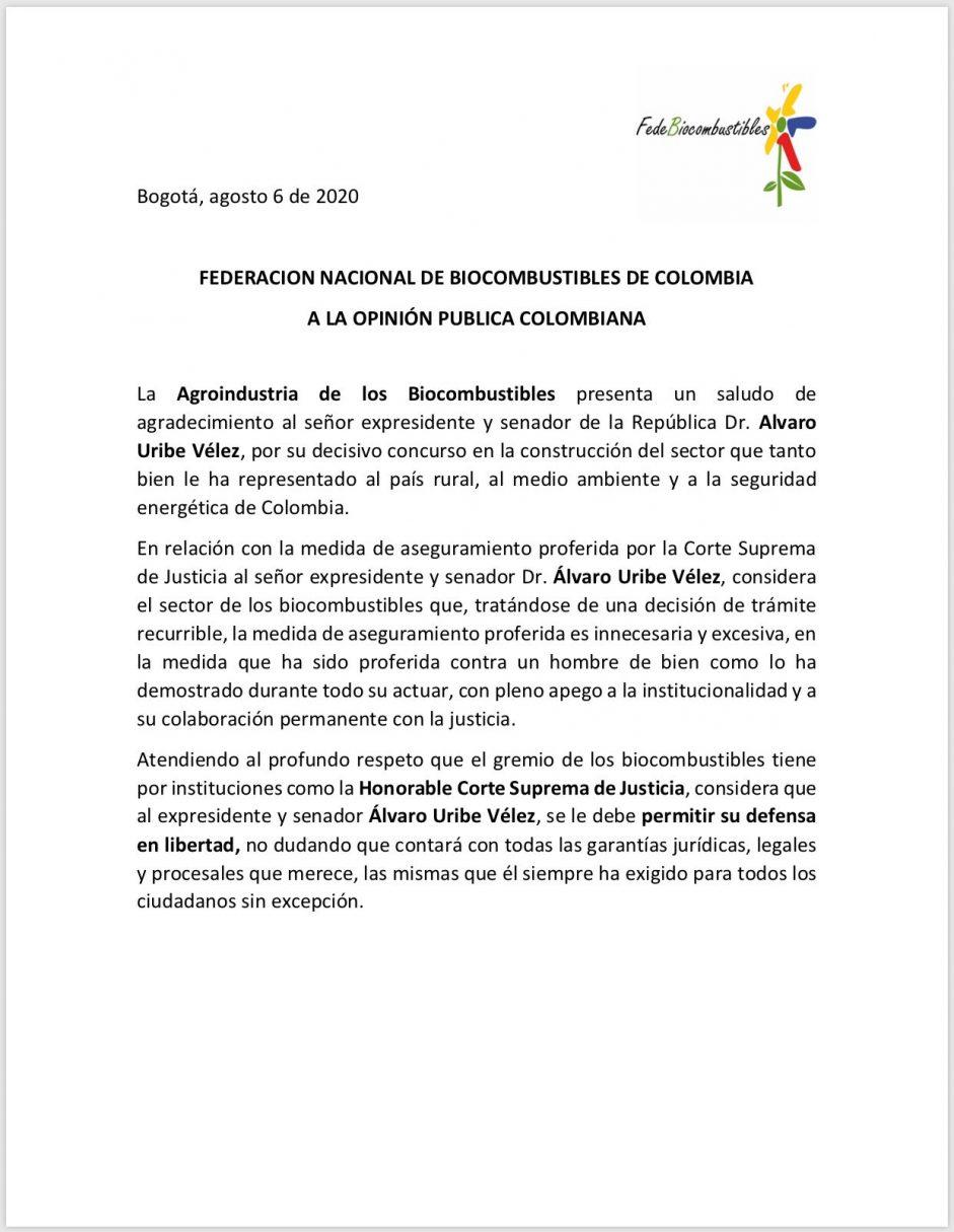 FEDERACIÓN NACIONAL DE BIOCOMBUSTIBLES DE COLOMBIA
