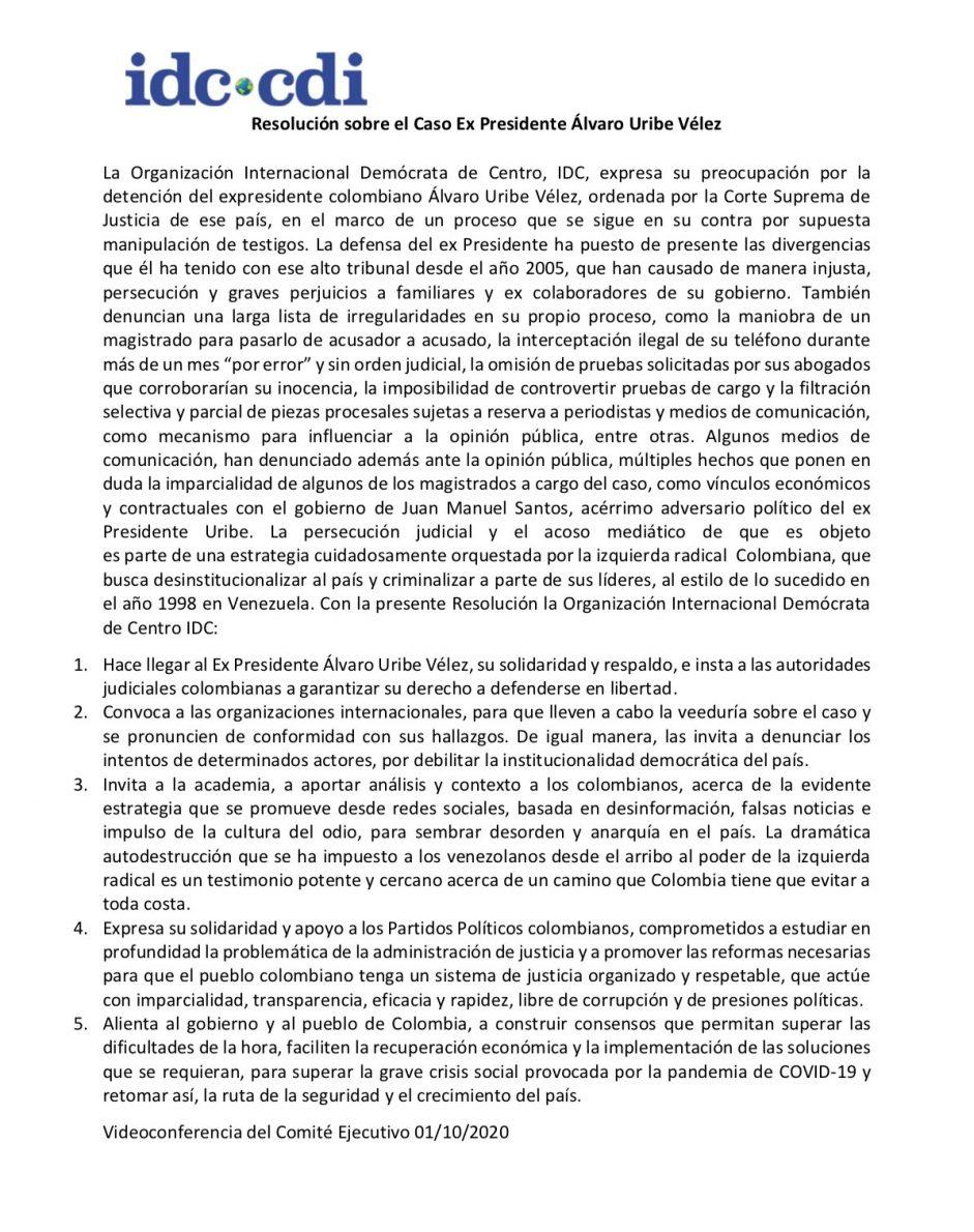 Organización Demócrata de Centro sobre defensa en libertad de Álvaro Uribe Vélez