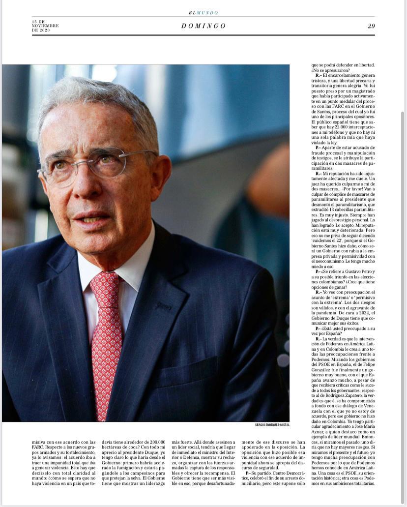 «Me preocupa mucho la intervención de Podemos en América Latina» Álvaro Uribe Vélez, El Mundo España