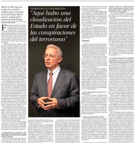 """""""Aquí hubo una claudicación del Estado en favor de las conspiraciones del terrorismo» 21 noviembre,2020. El Mercurio, Chile"""