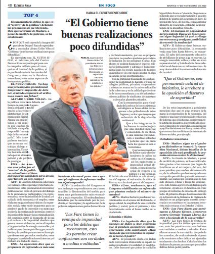 """""""El Gobierno tiene buenas realizaciones poco difundidas"""" Álvaro Uribe 17 noviembre, 2020"""