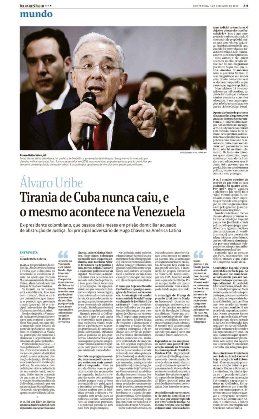 «La tiranía nunca cayó, lo mismo está aconteciendo en Venezuela» Entrevista con Folha de Brasil