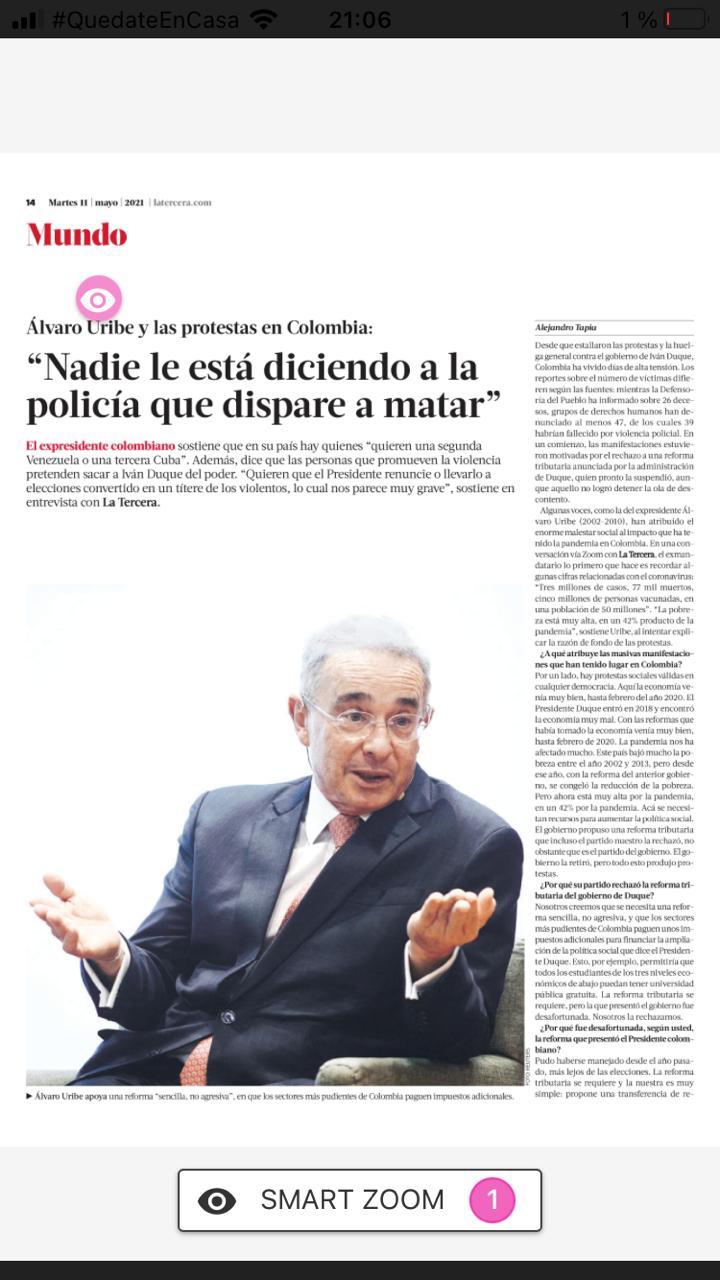 Entrevista La Tercera Chile Álvaro Uribe Vélez