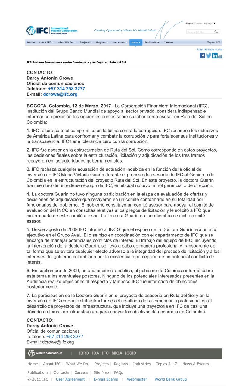 IFC Rechaza Acusaciones contra Funcionaria y su Papel en Ruta del Sol