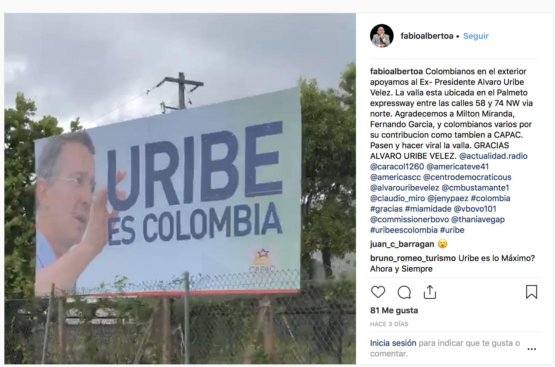 Apoyo a Álvaro Uribe