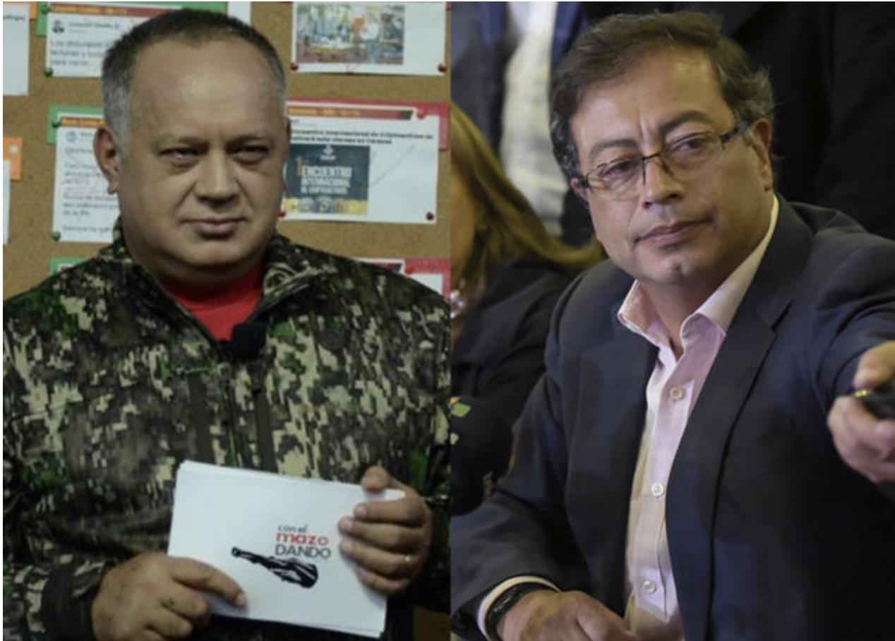 Diosdado Cabello dice que Petro fue a Venezuela a buscar financiación para una de sus campañas