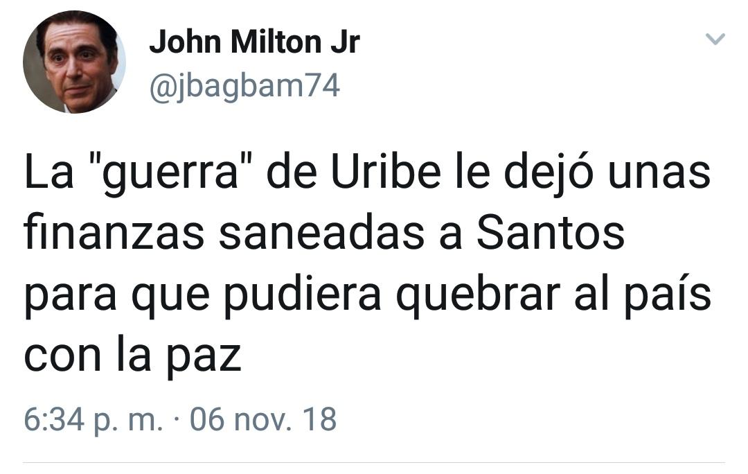 La «guerra» de Uribe le dejó unas finanzas saneadas a Santos para que pudiera quebrar al país con la